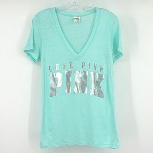 Pink Victoria's Secret mint green burnout T-shirt